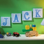 Blue Stripe Canvas Name Letters (4 Letters)
