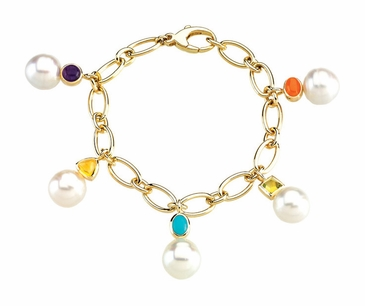 Bracelet with Gemstone and Pearl Charm