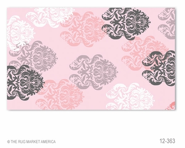Brocade Pink Flannel Hook Rug