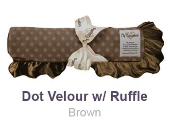 Brown Dot Velour with Ruffle Trim Blanket by My Blankee