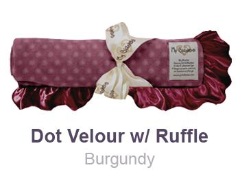 Burgundy Dot Velour with Ruffle Trim Blanket by My Blankee
