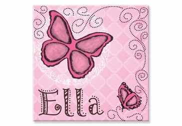 "Butterfly Canvas Wall Art Personalized - 15"" x 15"""