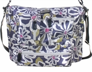 Charcoal Floral Iris Baby Bag by Amy Michelle