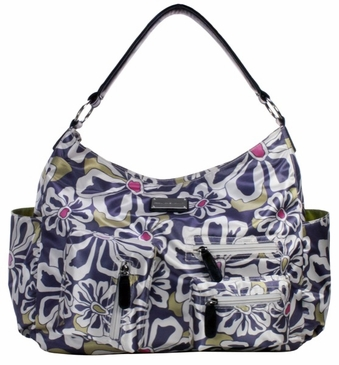 Charcoal Floral Lotus Baby Bag by Amy Michelle