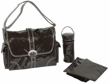 Chocolate - Laminated Buckle Diaper Bag by Kalencom