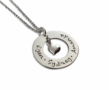 Circle Pendant with Heart Charm Necklace