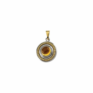Citrine Cabochon Sterling Silver and Golden Pendant