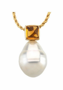 Citrine Embossed South Sea Pearl Pendant