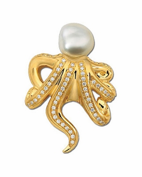 Classy Octopus Brooch With South Sea Pearl