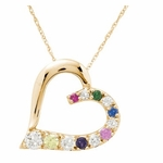 """Close to My Heart"" Gold Pendant Necklace with Genuine Stones"
