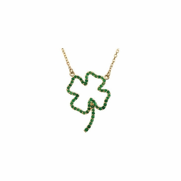 Clover Pendant with Link Chain- 14K Yellow