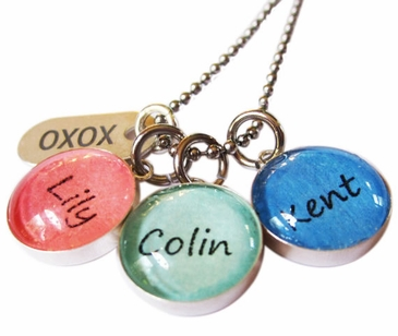 Colorful Glass Dome Name Necklaces