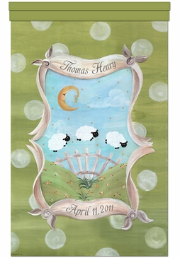 Count The Sheep Meadow Green Wall Hanging Personalized by Dish and Spoon
