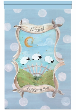 Count The Sheep Tranquil Blue Wall Hanging Personalized by Dish and Spoon