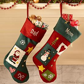 Country Patchwork Christmas Stockings - Personalized