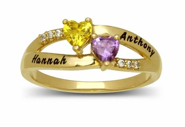 Couples Heart Gemstone Ring