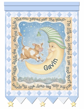 Cow And Moon Hey Diddle Blue Wall Hanging Personalized by Dish and Spoon