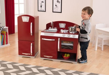 Cranberry Retro Kitchen and Refrigerator