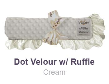 Cream Dot Velour with Ruffle Trim Blanket by My Blankee