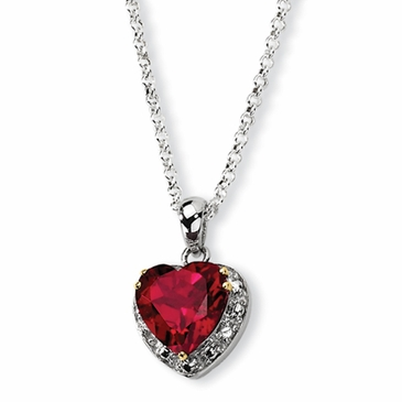 Crimson Heart Diamond Topaz Necklace
