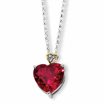 Crimson Heart Necklace With Diamond