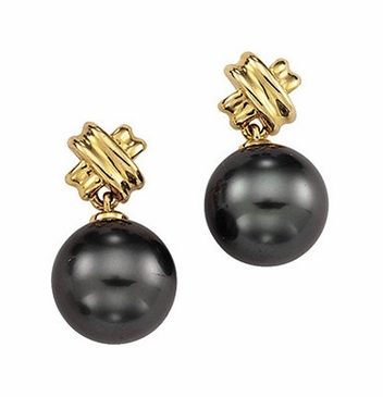 Criss Cross Pattern Tahitian Pearl Earings