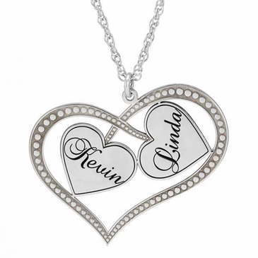 Crossover Hearts Couple's Name Necklace