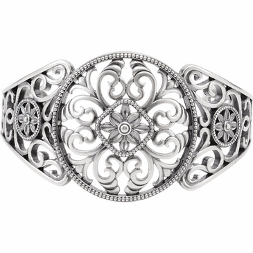 Cuff Bracelet with Filigree Design