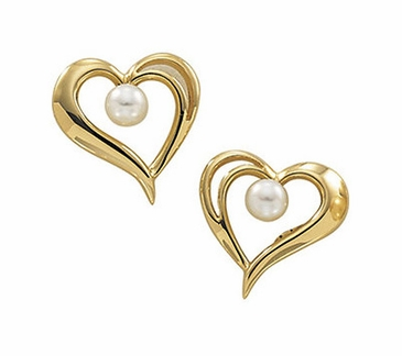 Cultured Akoya Pearl Earings Heart Shape