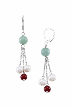 Cultured Pearl earrings with red agate and jade lever