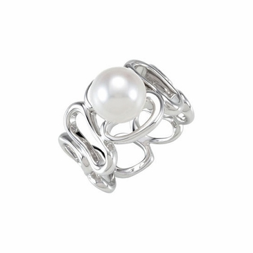 Cultured pearl ring in Sterling silve