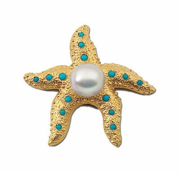 Cute Starfish South Sea Pearl and Diamond Brooch with Turquoise
