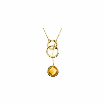 Dainty Citrine & Diamond Necklace