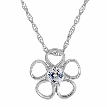 Daisy Birthstone Pendant Necklace - April