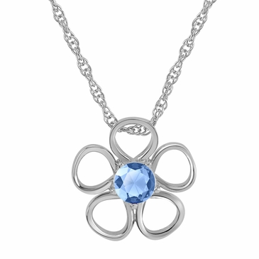 Daisy Birthstone Pendant Necklace - March