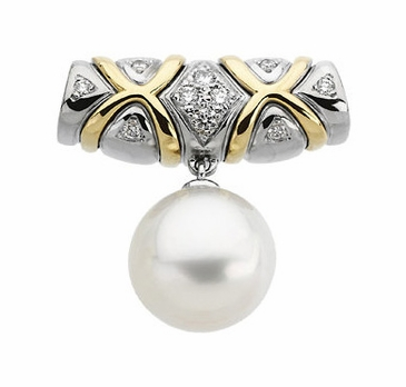Diamond Embossed Tahitian Cultured Pearl Pendant