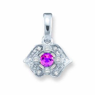 Diamond Kiss Birthstone Pendant - with Genuine Stones