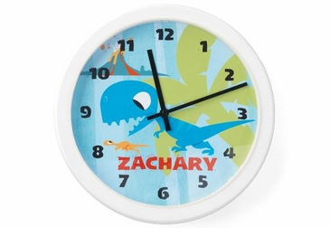 Dinosaur Clock Wall Art Personalized - Blue