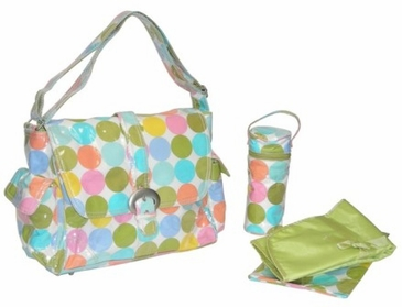 Disco Dots Cream - Laminated Buckle Diaper Bag by Kalencom