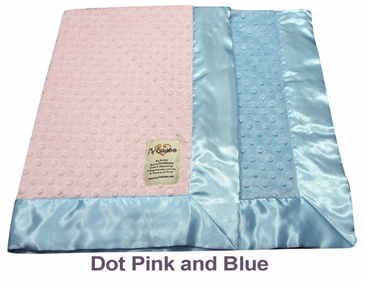 Dot Pink Blue Dot Velour Two Tone Blanket by My Blankee