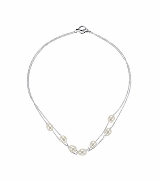 Double Chain 18 Inch Pearl Necklace - Sterling Silver