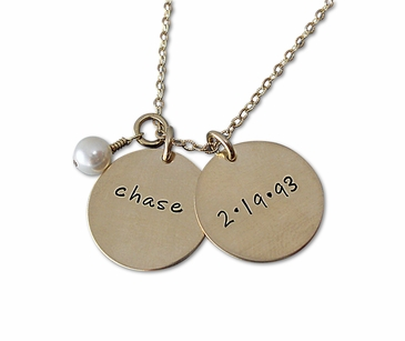 Double Charms Name Necklace in 14K Gold-filled