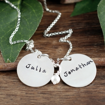 Double Charms Name Necklace in Silver