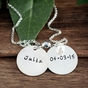 Double Charms Name Necklace in Silver - click to Enlarge