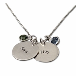 Double Charms Name Necklace with Birthstones