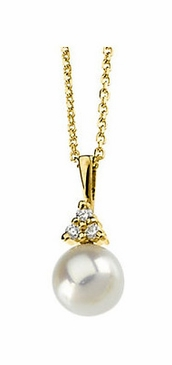 Elegant Diamond and Pearl Pendant