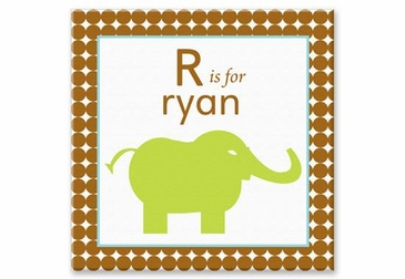 "Elephant Canvas Wall Art Personalized - 15"" x 15"""