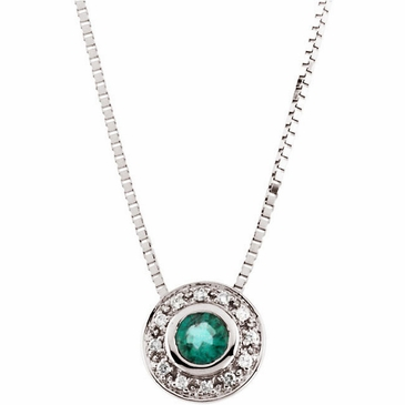 Elite Emerald & Diamond Necklace with Round Pendant