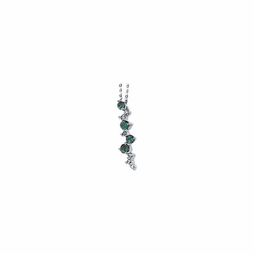 Emerald & Diamond Cascaded Necklace- 14K White