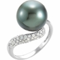Entwined Pearl and Diamond Ring - click to Enlarge